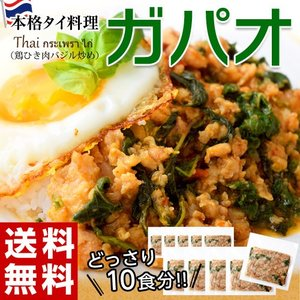本場 タイ加工 ガパオ 送料無料 鶏ひき肉のバジル炒め 100g×10食 タイ料理 アジアン ガパオライス ご飯のお供 冷凍 同梱不可|tsukiji-ichiba2
