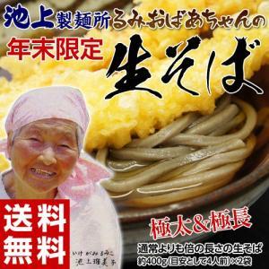 そば 蕎麦 ソバ 送料無料 池上製麺所 監修 るみおばあちゃんの 極太&極長 生そば 500g×2袋(計10人前)つゆなし ゆうメール便 代引き不可 同梱不可|tsukiji-ichiba2