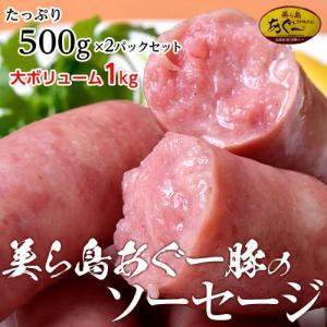 ソーセージ 美ら島 あぐー豚 100%使用 あぐー豚のソーセージ 500g×2P ウインナー 沖縄 お取り寄せ 送料無料 冷凍 同梱不可|tsukiji-ichiba2