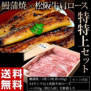 御中元 お中元 丑の日 国産うなぎと松阪牛の特特上セット 五匠鰻2尾 A4ランク以上 松阪牛肩ロース250g  贈答 年末 鰻 牛肉 うなぎ ギフト 冷凍 送料無料|tsukiji-ichiba2