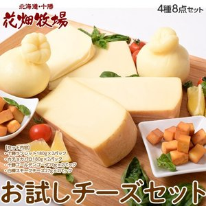 チーズ 花畑牧場 花畑牧場のお試しチーズセット 4種8個 ラクレット カチョカバロ ゴーダ スモークチーズ 冷蔵 同梱不可 送料無料|tsukiji-ichiba2