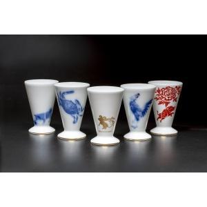大倉陶園作 干支の酒杯「申・酉・戌・亥・子」 各1杯 tsukiji-ichiba2