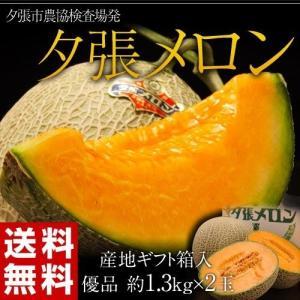 メロン 北海道産 夕張メロン【優品】 約1.3kg×2玉 産地ギフト箱入り 送料無料|tsukiji-ichiba2
