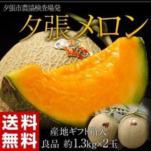 メロン 北海道産 夕張メロン【良品】 約1.3kg×2玉 産地ギフト箱入り 送料無料|tsukiji-ichiba2