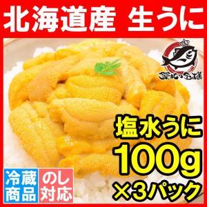 ウニ うに 塩水うに 北海道産 生ウニ 生うに 合計 300g 100g×3パック 日時指定不可 雲丹|tsukiji-ousama