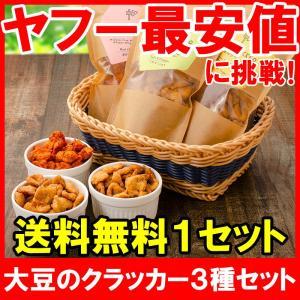 大豆のクラッカー ソイクラッカー 三種セット しお&こしょう 黒糖 唐辛子 60g 各1パック 合計3パック|tsukiji-ousama