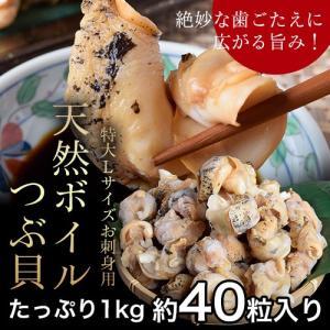 特大Lサイズ お刺身用 天然ボイルつぶ貝1kg 約40粒入り 冷凍 sea ◯|tsukijiichiba