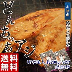 アジ 鯵 送料無料 山陰産 どんちっち あじ開き 2枚 200g ×2パック 冷凍|tsukijiichiba
