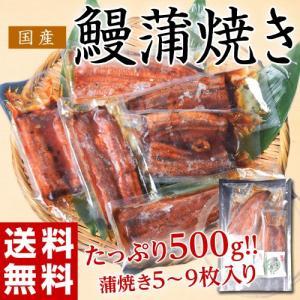 ≪送料無料≫サイズまちまち! 国産 鰻蒲焼き  500g(5枚〜9枚) タレ・山椒付き ※冷凍 sea ☆|tsukijiichiba