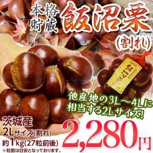 栗 くり クリ 訳あり 茨城県産 飯沼栗 2L(割れ) 約1kg (目安 27粒前後) ※冷蔵|tsukijiichiba