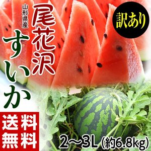《送料無料》山形県産 「尾花沢スイカ」(訳あり) 2L〜3L 約6.8kg frt ☆ tsukijiichiba