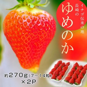 いちご 長崎県産 「ゆめのか」 1パック 約270g(7〜14粒)×2パック 苺 イチゴ 果物 フルーツ ギフト 贈り物 贈答 お返し お祝い お礼 冷蔵 tsukijiichiba