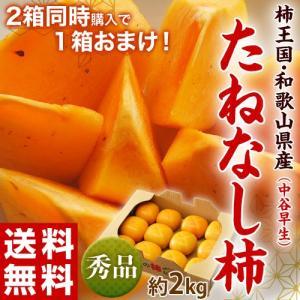 【2箱購入で1箱オマケ】柿 かき 和歌山産 たねなし柿 (中谷早生) 秀品 10〜12個入り 約2kg 送料無料|tsukijiichiba