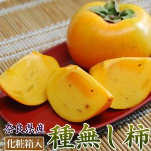 送料無料 奈良県産 ハウス栽培種無し柿 M〜2L 約2kg(9〜12玉) 化粧箱入|tsukijiichiba