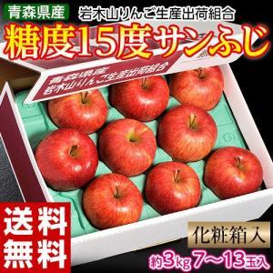 りんご サンふじ ふじ 青森県産 糖度15度 サンふじ 約3kg (7〜13玉) 岩木山りんご生産出荷組合 送料無料|tsukijiichiba
