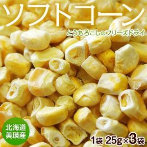 コーン とうもろこし トウモロコシ 送料無料 北海道 取り寄せ 美瑛産とうもろこしのフリーズドライ ソフトコーン 3袋 (1袋あたり25g) 常温 ネコポス|tsukijiichiba