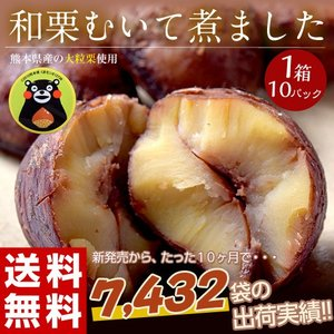 栗 甘栗 ムキ栗 熊本県産栗使用 「和栗むきました」 国産渋皮栗85g×10袋 送料無料|tsukijiichiba