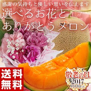 【敬老の日】メロンとお花のギフトセット 北海道産「赤肉メロン大玉1.3kg 1玉 + 「選べるお花」 ※常温・送料無料 frt ☆|tsukijiichiba