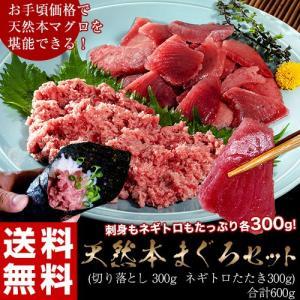 本まぐろ 本鮪 クロマグロ <送料無料>本マグロ切り落とし&ネギトロ たたきセット 各300g 合計600g ※冷凍|tsukijiichiba