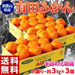 【10/31まで早割】JAありだ AQ共選 『手詰め 有田みかん』 2Lサイズ 約3キロ×3箱(計約9キロ) 和歌山産 ※常温 送料無料 産地直送|tsukijiichiba