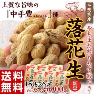 落花生 らっかせい ピーナッツ ナッツ 千葉県やちまた産「煎りたて殻付き落花生」(新豆)150g×6袋 合計900g 送料無料|tsukijiichiba