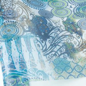 生地 生地 ナイロン 転写チュール エスニック 巾68cm (最低単位30cm〜10cm単位の切売り)  つくる楽しみ