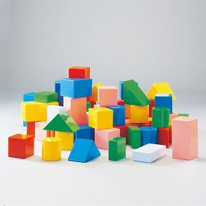 音が鳴るカラフルな積木ブロック つみきちゃん・大セット 63個組・6cm基尺 収納ケース付|tsumura