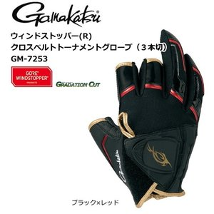 (セール 40%OFF) がまかつ ウィンドストッパー(R)クロスベルトトーナメントグローブ (3本切) GM-7253 ブラック×レッド 3Lサイズ (メール便可)|tsuribitokan-masuda