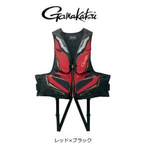 (セール 40%OFF) がまかつ フローティングベスト GM-2179 レッド×ブラック Mサイズ  (送料無料)|tsuribitokan-masuda