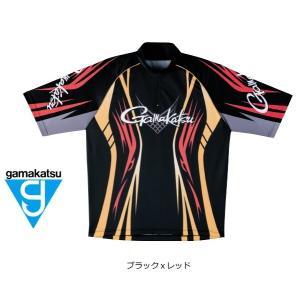 (セール 40%OFF) がまかつ 2WAYプリントジップシャツ(半袖) GM-3504 ブラックxレッド Lサイズ|tsuribitokan-masuda
