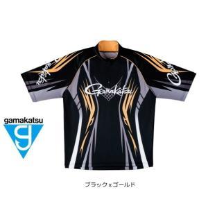 (セール 40%OFF) がまかつ 2WAYプリントジップシャツ(半袖) GM-3504 ブラックxゴールド Mサイズ|tsuribitokan-masuda