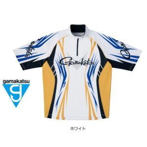 (セール 40%OFF) がまかつ 2WAYプリントジップシャツ(半袖) GM-3504 ホワイト Lサイズ|tsuribitokan-masuda