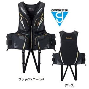 がまかつ フローティングベスト GM-2188 ブラック×ゴールド Lサイズ (お取り寄せ商品) (...