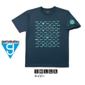 がまかつ Tシャツ (ちりめん) GM-3604 ネイビー Sサイズ (お取り寄せ商品)