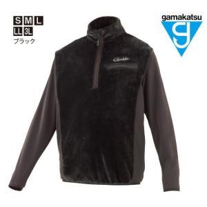 がまかつ ボアフリースハーフジップシャツ GM-3614 ブラック Sサイズ / ウェア (お取り寄せ商品) (送料無料) (年末感謝セール対象商品)|tsuribitokan-masuda