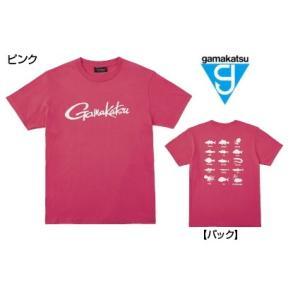 がまかつ Tシャツ (筆記体ロゴ) GM-3576 ピンク Sサイズ (お取り寄せ商品)