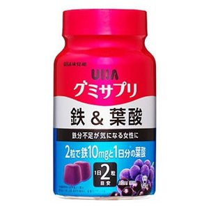 UHA味覚糖 グミサプリ 鉄&葉酸 30日分 アサイーミックス味 (60粒) サプリメント 栄養機能...