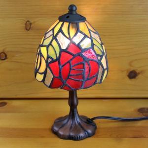 ステンドグラスランプ 2色のバラ(ミニチュアローズ)小型 12×h24|tsuruyakagu