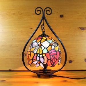 ステンドグラス ランプ 吊り型2アーム 優雅な薔薇 (マドーナ) 23×h35.5      st-ep043+td-007b|tsuruyakagu