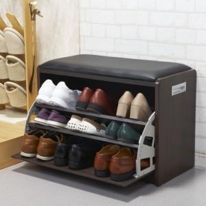 腰かけ付シューズラック Mサイズ 9足用 ベンチ式靴箱|tsuten2