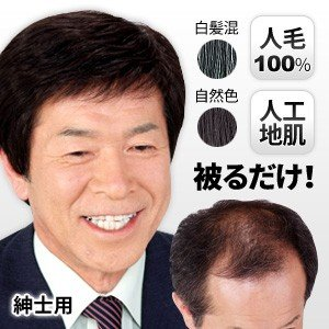 返品可能/男性用かつら/紳士用 高級人毛ヘアウィッグ/メンズかつら/フルウィッグ tsuten2
