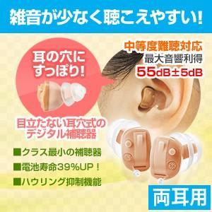 A&M耳穴式デジタル補聴器 耳いちばんプレミアム両耳用/返品可能/非課税|tsuten2