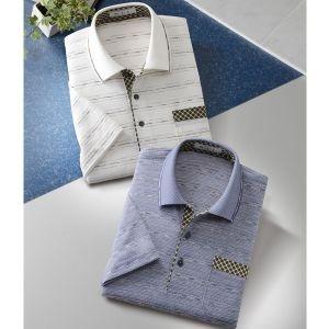 mij(エムアイジェイ)/日本製かすり糸使用ジャカード半袖ポロシャツ2色組/ ブルー・オフホワイト|tsuten2