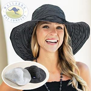 ワラルー社 折りたためるUVカットつば広レディースハット つば広帽子 キャペリンハット 女優帽|tsuten2