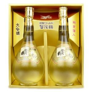 賀茂鶴酒造  大吟醸・純金箔入 特製ゴールド賀茂鶴720ml詰 2本化粧箱入 GK-B2|tsutsu-uraura