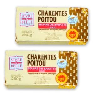 グラスフェッドバター セーブル(Sevre) 自然発酵 無塩 250g 2個セットフランス ポワトゥーシャラン産 AOP取得 無添加