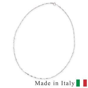 イタリアンジュエリー ホワイトゴールドネックレス 40cm ...