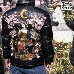 和柄 ジャケット アウター 刺繍 花魁 中綿ジャケット|tsutsumiya