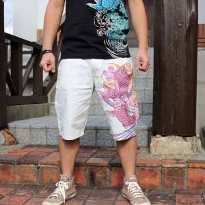 和柄 ハーフパンツ 短パン 大きいサイズ デニムパンツ 刺繍 メンズ 鯉 [TJ7-188]|tsutsumiya