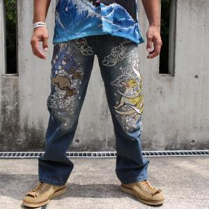 和柄 ジーンズ 大きいサイズ デニムパンツ 刺繍 メンズ 狐 天狗 [YT801712B]|tsutsumiya